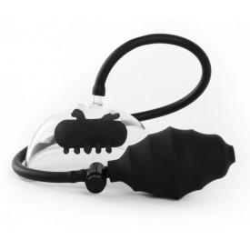 Чёрная вакуумная вибропомпа Vibrating Pussy Pump