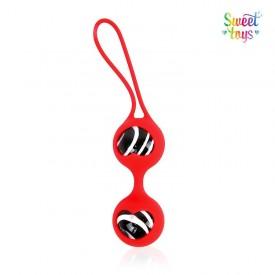 Вагинальные стеклянные шарики в красной силиконовой оболочке со шнурком